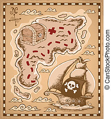 1, carte, thème, trésor, image