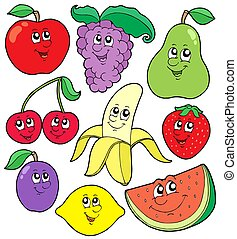 1, dessin animé, collection, fruits