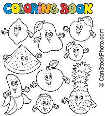 1, dessin animé, livre coloration, fruits