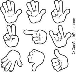 #1, dessin animé, mains