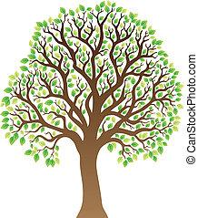 1, feuilles vertes, arbre