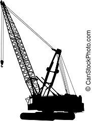 1, grue, construction, vecteur