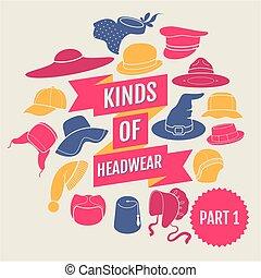 1, headwear., partie, genres