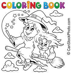 1, image, coloration, halloween, livre