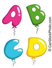 1, jouet alphabet, -, ballons