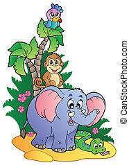 1, mignon, divers, animaux, africaine