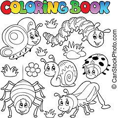1, mignon, livre coloration, bogues
