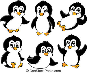 1, mignon, pingouins, collection