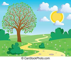 1, printemps, thème, paysage