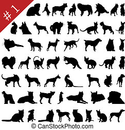 1, silhouettes, #, animaux familiers