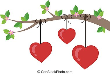 1, stylisé, thème, branche, cœurs