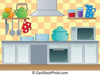 1, thème, image, cuisine