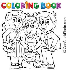 1, thème, livre coloration, pupille