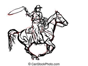 1, vecteur, illustration, cow-boy
