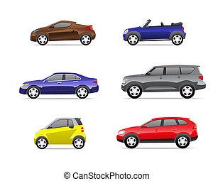 1, voitures, partie, ensemble, icônes