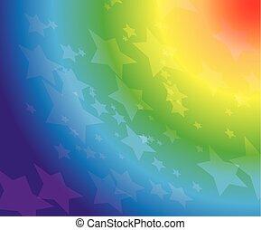 10, étoiles, arc-en-ciel, -, eps, fond