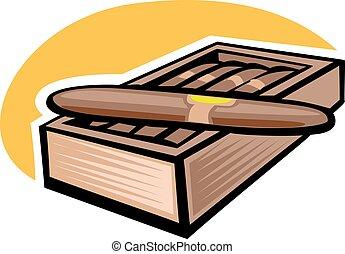 10, cubaine, cigare, eps, illustration, vecteur, crosse, allumette