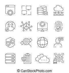 10, data., réseau, service, protection, set., icônes, editable, eps, figure, serveur, vecteur, stroke., internet, reconnaissance, nuage, technologie