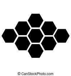 10, eps, arrière-plan., vecteur, noir, blanc, hexagone, icône