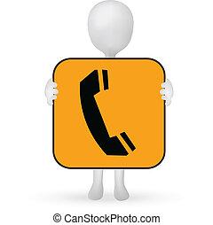 10, -, eps, signe, téléphone, vecteur, tenant mains, petit, 3d, homme