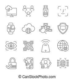 10, technologie, icônes, editable, set., protection, connection., cyber, eps, vecteur, space., numérique, réseaux, technologies, stroke.