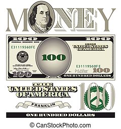 100 billet banque dollars, éléments