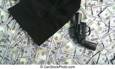 $100, dollar, dolly:, fusil, billets banque, américain, tas, balaclava