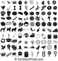 100, ensemble, 3, icône