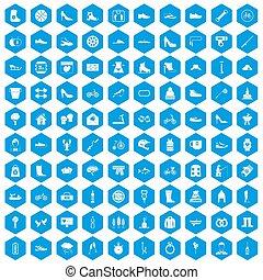 100, ensemble, bleu, chaussure, icônes