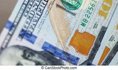100, factures, dollar, gros plan, dénombrement