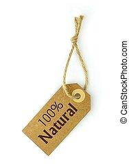 100%, naturel, étiquette