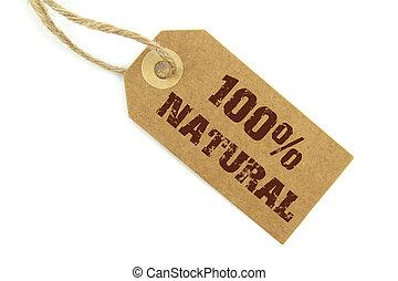 100, naturel, étiquette