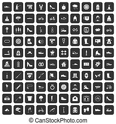 100, noir, ensemble, chaussure, icônes