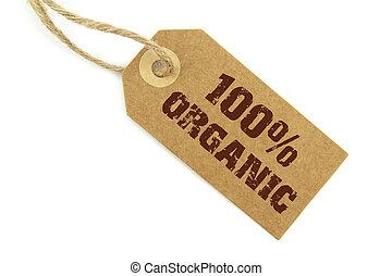 100%, organique, étiquette