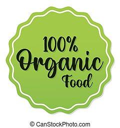 100, pourcentage, cachet, organique, lettrage, timbre, nourriture