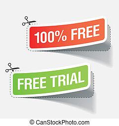 100%, procès, étiquettes, gratuite