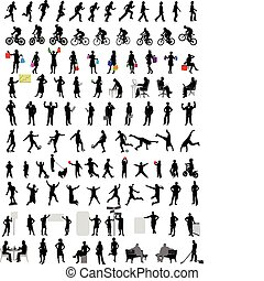 100, silhouettes, gens