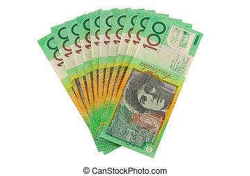 $1000, isolé, monnaie, dollars australiens, blanc