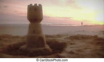 (1006), plage, levers de soleil, rivage, joggeur