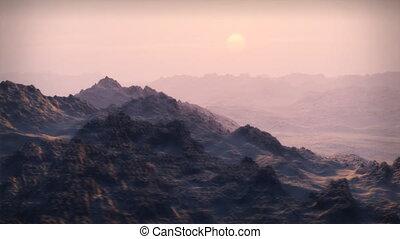 (1065), coucher soleil, montagnes, neigeux, désert
