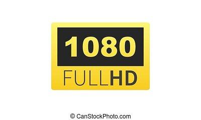 1080, entiers, technology., display., hd, graphics., élevé, label., tã©lã©viseur, mouvement, mené