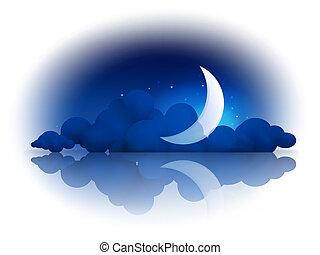 10eps, nuages, lune