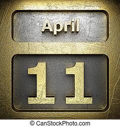 11, avril, doré, signe