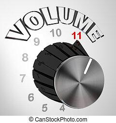 11, bouton, cadran, ceci, tourné, -, une, volume, va, max
