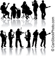 11, silhouettes, musicien