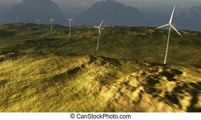 (1114), puissance, désert, plaines, grille, coucher soleil, turbine, orageux, vent