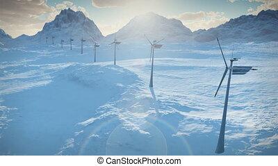 (1152), puissance, électricité, énergie, turbines, neige, ferme, vent, propre, alternative, boucle, hiver