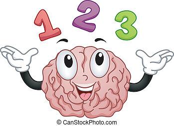 123, cerveau, nombres, mascotte