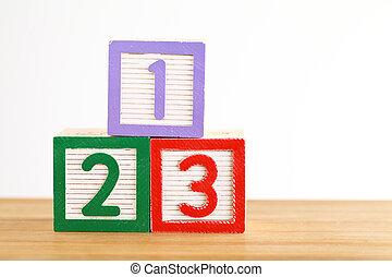 123, jouet, bloc
