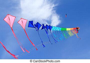 12e, cerfs volants, coloré, internati, thaïlande